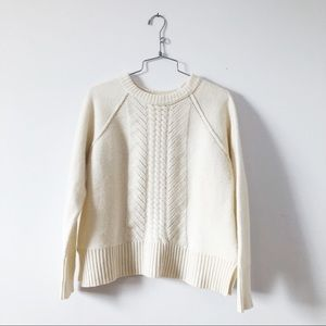 J.Crew 100% whool ivory pointelle sweater